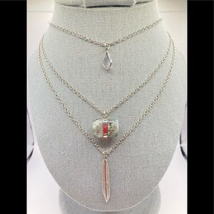 🥰3/$20 Silver tone multistrand charm necklace N37